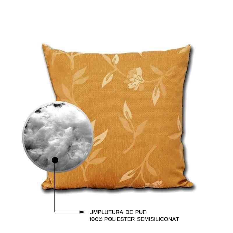 Perna decorativa Jaquard Model Garoafe bej