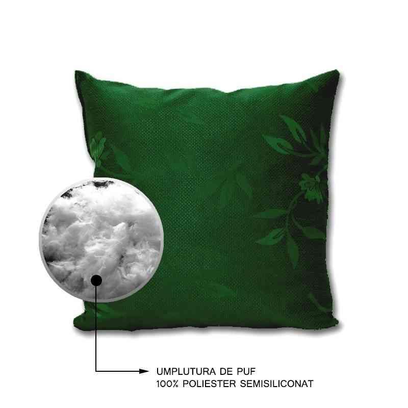 Perna decorativa Jaquard Model Garoafa verde
