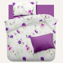 Lenjerie pat Renforce RIU Rosemallow-03 Iris Orchid