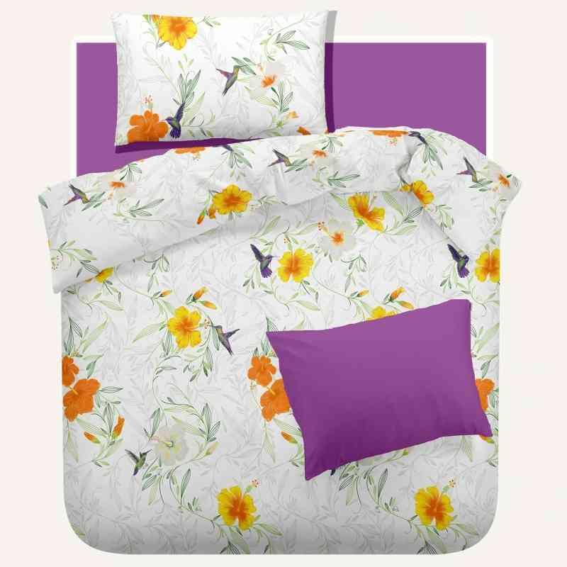 Lenjerie pat Crepe desen Rosemallow v.2 Iris Orchid