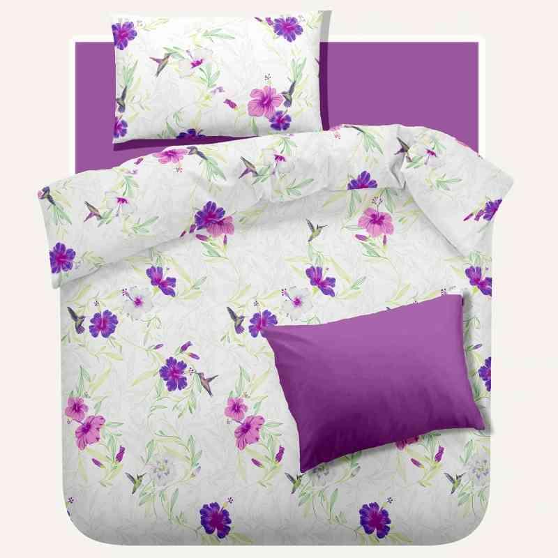 Lenjerie pat Crepe desen Rosemallow v.3 Iris Orchid