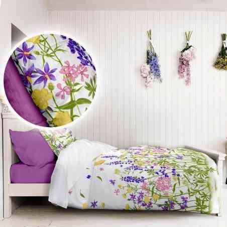 Lenjerie pat Crepe desen Wild Field v.1 Iris Orchid