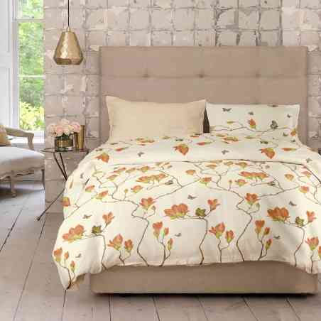 Lenjerie pat Renforce desen Magnolia v.2 Honey Peach