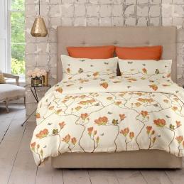 Lenjerie pat Renforce desen Magnolia v.2 Pumpkin
