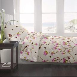 Lenjerie pat Renforce desen Magnolia Butterfly-v.1 Vanilla