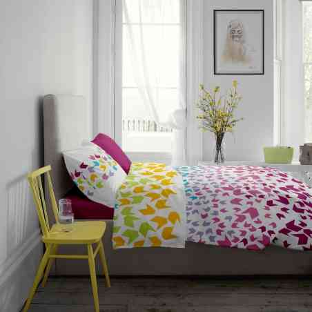 Lenjerie pat Renforce desen Loving Matisse v.1+Fuchsia Red
