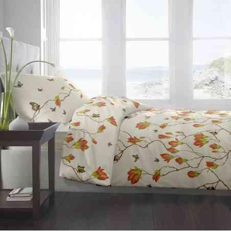 Lenjerie pat Renforce desen Magnolia Butterfly v.2 Vanilla