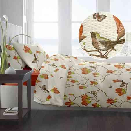 Lenjerie pat Crepe desen Magnolia Birds v.2