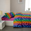 Cearceaf pilota + Fete perna Crepe desen Rainbow 01