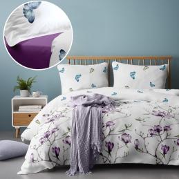 Lenjerie pat Renforce Magnolia Tree 02 Iris Orchid