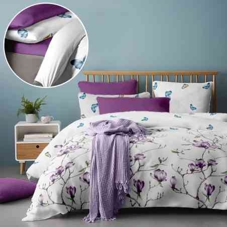 Lenjerie pat Renforce RIU Magnolia Tree 02 Iris Orchid