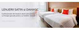 Lenjerii de pat albe din policotton pentru hotel. Model jaquard/ plain